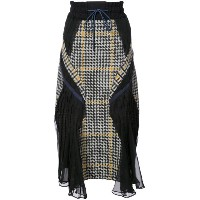 Sacai - houndstooth wave panelled skirt - women - ナイロン/ウール - 1