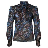 Anna Sui - sheer floral blouse with neck tie - women - ナイロン/ポリエステル - 0