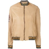 Mr & Mrs Italy - zipped bomber jacket - women - コットン/レザー/ポリエステル - XS