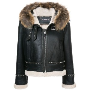 Barbara Bui - fur trim leather jacket - women - ラムスキン/ラクーンファー/Lamb Fur - XS/S