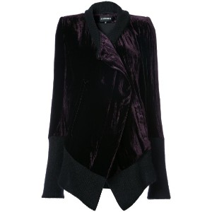 Ann Demeulemeester - knitted trim asymmetrical jacket - women - シルク/コットン/レーヨン - 34