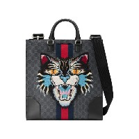 Gucci - GG Supreme tote with Embroidered Angry Cat - men - コットン/レザー/Canvas - ワンサイズ
