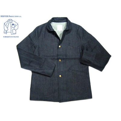 "【期間限定30%OFF!】HERVIER PRODUCTIONS(エルヴィエ・プロダクションズ)/13.5oz ""KOJIMA"" DENIM FRENCH COVERALL/indigo..."