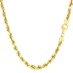 """14k Yellow Gold Solid Diamond Cut Royal Rope Chain Necklace, 4.0mm, 18"""""""