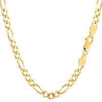 """14k Yellow Gold Classic Figaro Chain Necklace, 3.6mm, 18"""""""