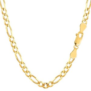 14k Yellow Gold Classic Figaro Chain Necklace, 3.6mm, 30""