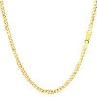 """10k Yellow Gold Comfort Curb Chain Necklace, 2.6mm, 16"""""""