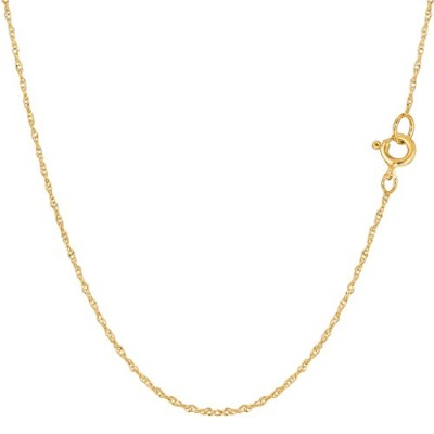 """14k Yellow Gold Rope Chain Necklace, 0.7mm, 18"""""""