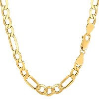 """10k Yellow Gold Hollow Figaro Chain Necklace, 6.5mm, 24"""""""