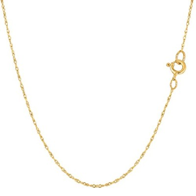 """14k Yellow Gold Rope Chain Necklace, 0.6mm, 20"""""""