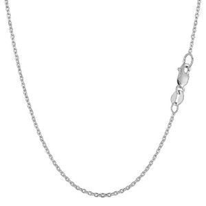 """14k White Gold Cable Link Chain Necklace, 1.4mm, 18"""""""