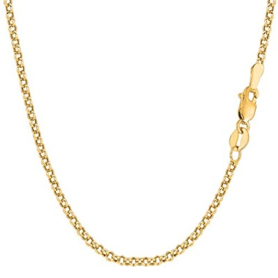 14k Yellow Gold Round Rolo Link Chain Necklace, 2.3mm, 24""