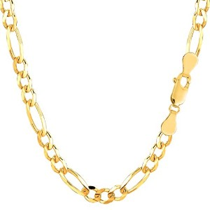 14k Yellow Gold Classic Figaro Chain Necklace, 5.0mm, 18""