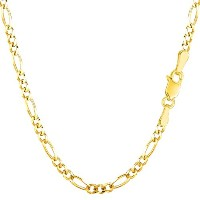 """14k Yellow Gold Classic Figaro Chain Necklace, 3.0mm, 18"""""""