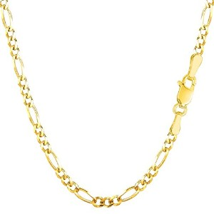 """14k Yellow Gold Classic Figaro Chain Necklace, 3.0mm, 16"""""""