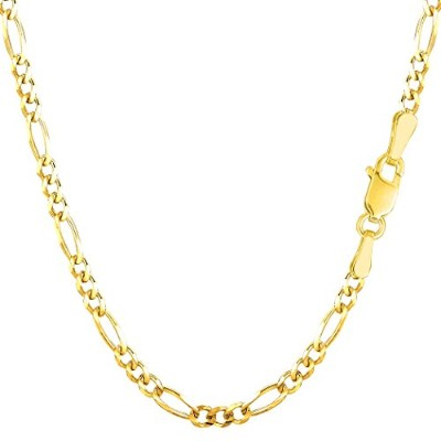 14k Yellow Gold Classic Figaro Chain Bracelet, 3.0mm, 7""
