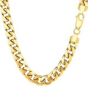 """14k Yellow Gold Miami Cuban Link Chain Necklace - Width 6.9mm, 30"""""""