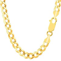 """14k Yellow Gold Comfort Curb Chain Necklace, 7.0mm, 24"""""""