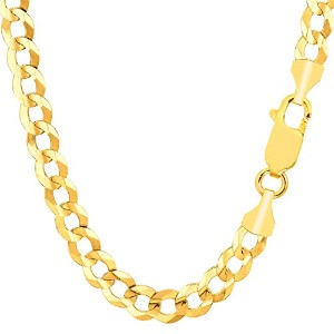 """14k Yellow Gold Comfort Curb Chain Necklace, 7.0mm, 22"""""""