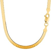 """14k Yellow Gold Imperial Herringbone Chain Necklace, 5.0mm, 18"""""""