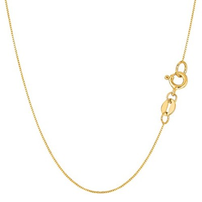 14k Yellow Gold Classic Mirror Box Chain Necklace, 0.6mm, 16""