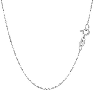 """10k White Gold Rope Chain Necklace, 0.6mm, 18"""""""