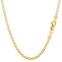 """10k Yellow Gold Mariner Link Chain Necklace, 3.2mm, 18"""""""