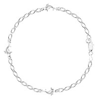 Dolphin Fancy Chain Anklet In Sterling Silver, 9""