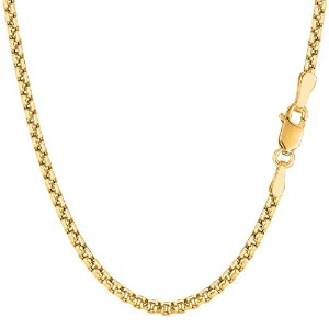 14k Yellow Gold Round Box Chain Necklace, 3.4mm, 24""