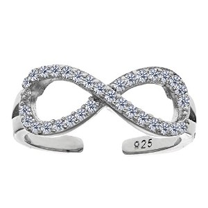 Sterling Silver Crossover Infinity With CZ Cuff Style Adjustable Toe Ring