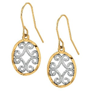 10k 2 Tone Yellow And White Gold Oval Shape Drop Earrings With Millgrain