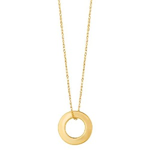 """14k Yellow Gold Circle Shaped Pendant On 18"""" Necklace"""