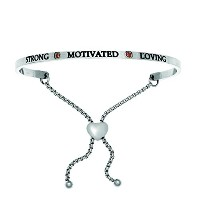 Intuitions Stainless Steel Strong, Motivated, Loving January Dark Red Birthstone Bangle Bracelet