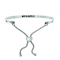 Intuitions Stainless Steel Satin Square Family Bangle Bracelet