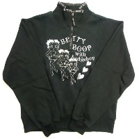 Betty Boop トレーナー Black Betty Boop with hedgehop