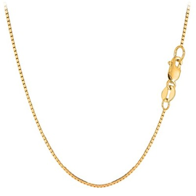 """10k Yellow Gold Classic Mirror Box Chain Necklace, 1.0mm, 30"""""""