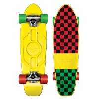 Dusters Mighty Skateboard complet cruiser Yellow Rasta Checker