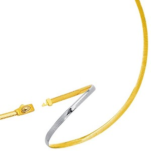 """Two Tone Reversible Omega Chain Necklace In 14k Yellow Gold And Sterling Silver, 4mm, 18"""""""