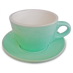 Set of 6 Teal Cappuccino Coffee Cup & Saucers 6.76 FL OZ ( 200mls ) – 美しいデザイン。Made with European磁器。
