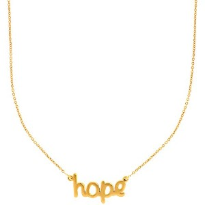 "14k Yellow Gold Hope Script Pendant On 18"" Necklace"
