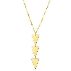 """14k Yellow Gold Three Hanging Triangle Pendant On 18"""" Necklace"""