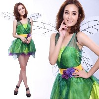 Woodland Green Fairy Tinkerbell Pixie Dress Outfit Adult Halloween Costume Party (Color: Green)