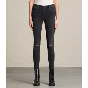 GRACE SLASHED JEANS (Washed Black)