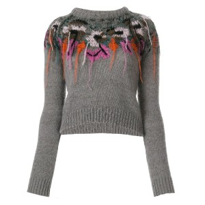 A.F.Vandevorst - slim-fit embroidered knitted top - women - ポリアミド/ウール/バージンウール - M