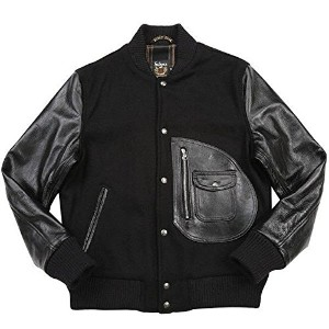 SCHOTT(ショット) 7321 767US D-POCKET VARSITY JACKET (36, ブラック)