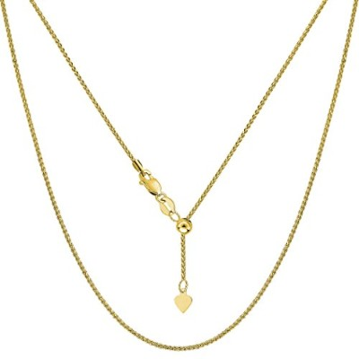10k Yellow Gold Adjustable Wheat Link Chain Necklace, 1.0mm, 22""