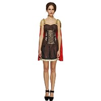 Smiffys Women's Brown/Red Fever Gladiator Costume - Us Dress 6-8