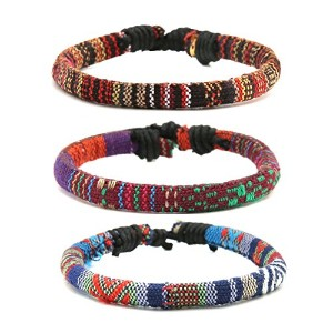 HZman Mix 6ラップブレスレットメンズレディース、Hemp Cords Ethnic Tribal Bracelets Wristbands