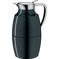 Alfi Pallasガラス真空ラッカー塗装メタルThermal Carafe for Hot and Cold Beverages、1.0L、ミッドナイトブラック
