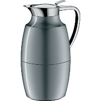 Alfi Pallasガラス真空ラッカー塗装メタルThermal Carafe for Hot and Cold Beverages、1.0 L、スペースグレー